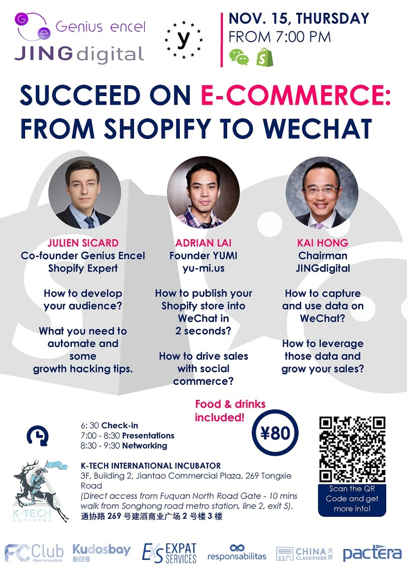 SUCCEED ON E-COMMERCE: FROM SHOPIFY TO WECHAT - Thursday, November